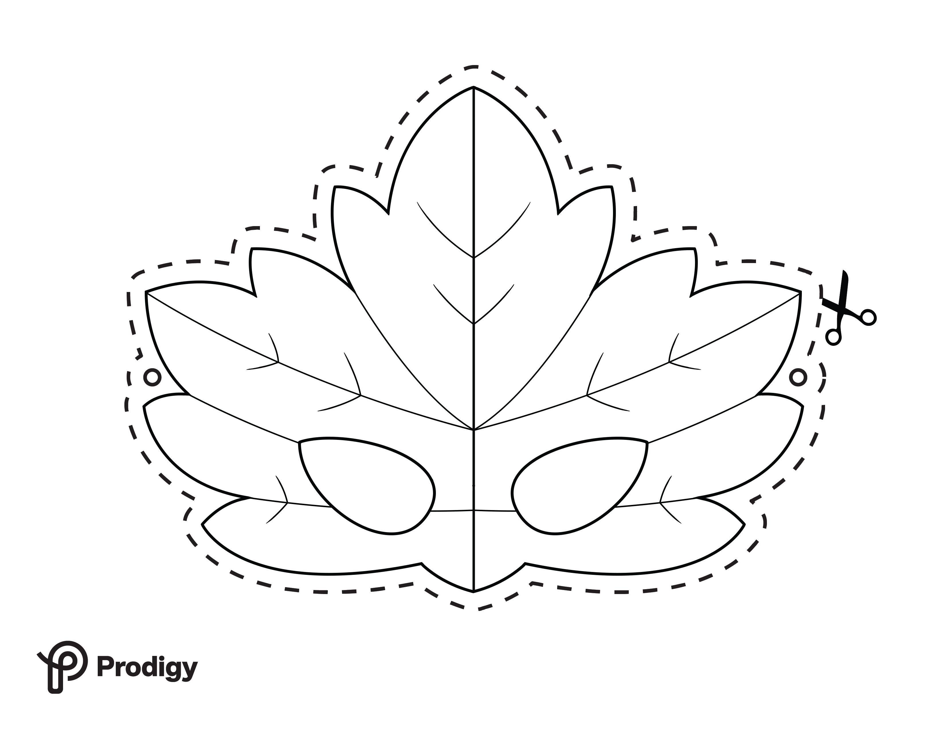 Printable leaf mask - black and white
