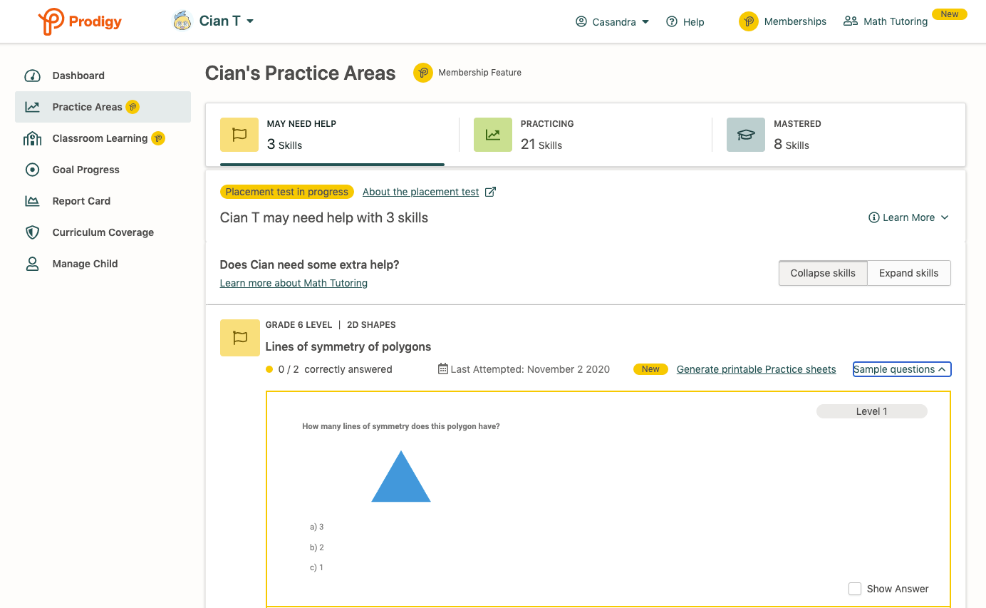 Screenshot of Practice Areas feature in a Prodigy parent account