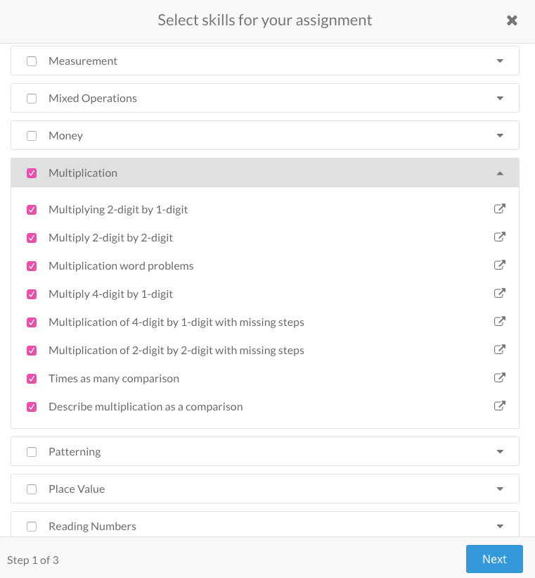 A screenshot of the Prodigy teacher app where you can create and set curriculum-aligned assignments for your students.