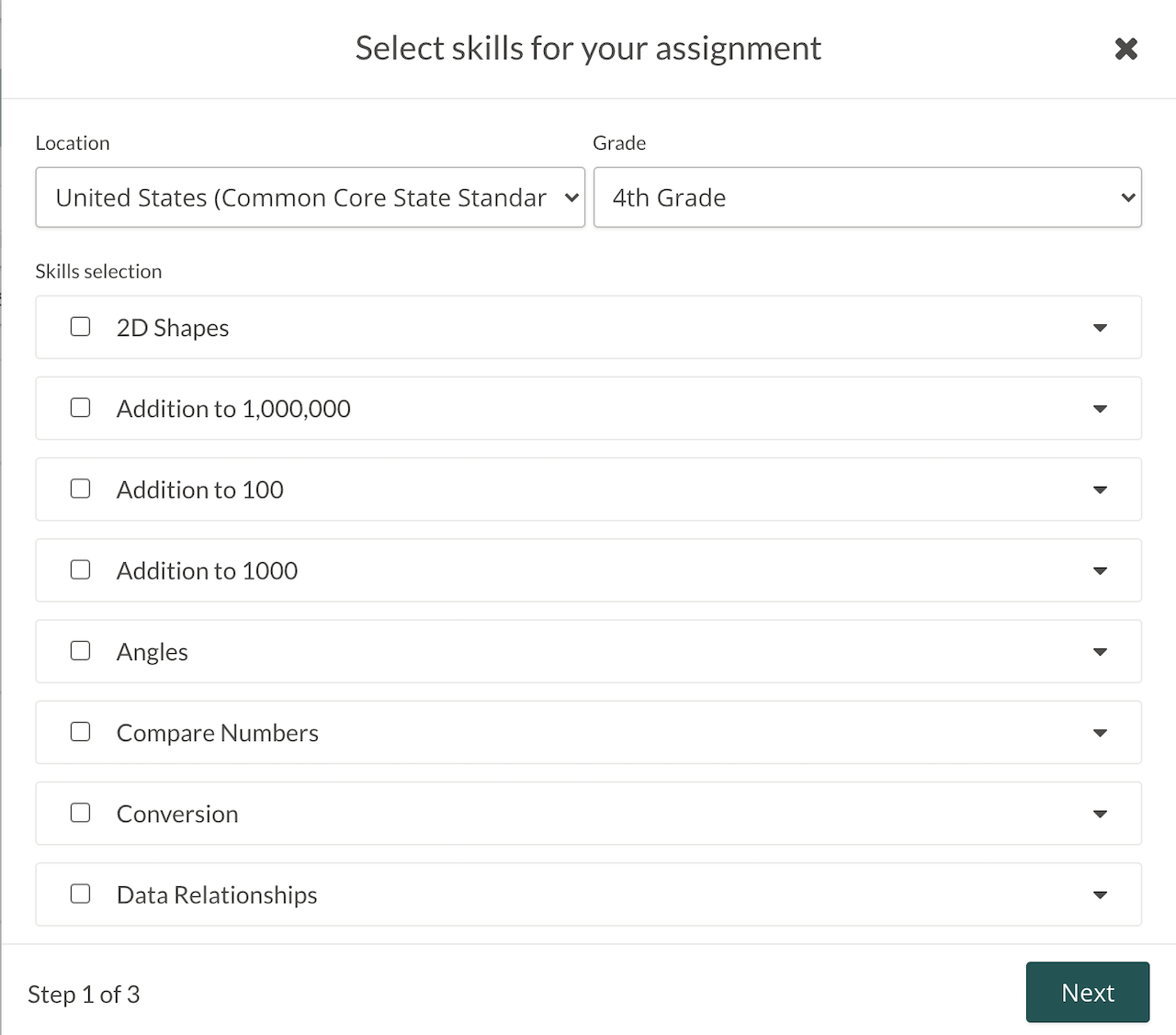"""In-app image of the Assignment feature in a Prodigy teacher account, showing the """"Select skills for your assignment"""" page."""