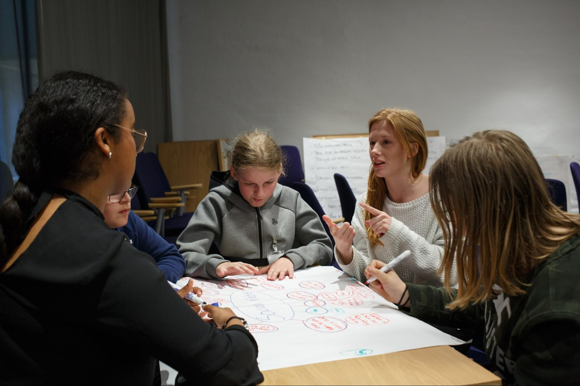 Teacher sits at table with students as the small group works on creating a mind map in the classroom.