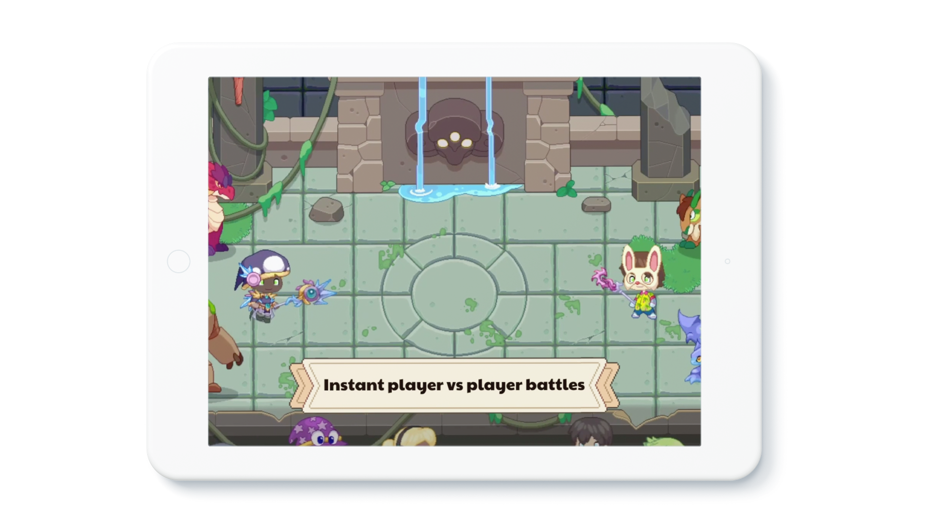 """Tablet device showing in-game footage of the new Arena, with a banner that reads: """"Instant player vs. player battles."""""""