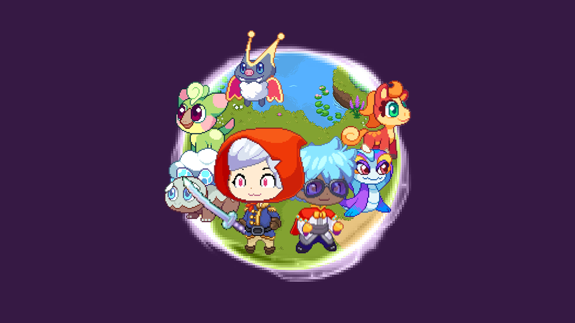 Featured image for the Prodigy Math Game Portal. Purple background that has a circle in the center, with an image inside of two Prodigy characters and five Prodigy pets in the background.