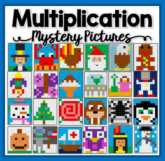 An example of mystery picture multiplication game template from Teachers Pay Teachers.