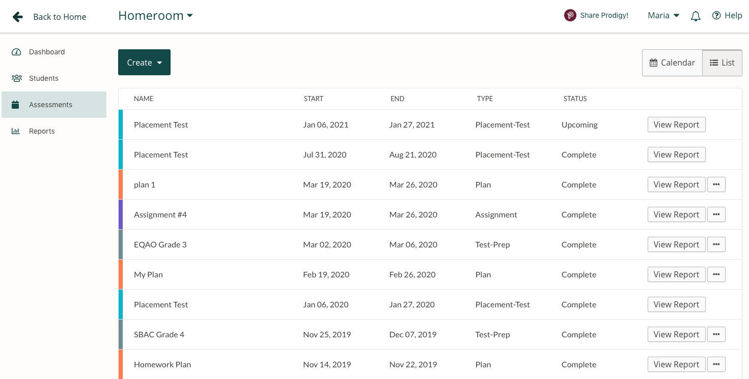 Screenshot of the Assignments/Plans report in the Prodigy teacher dashboard.