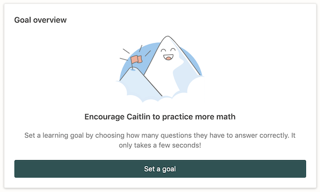 Screenshot of Goal setting feature in a Prodigy parent account.