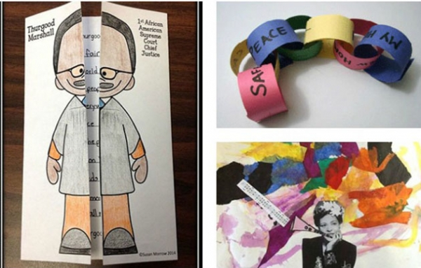 Examples of Black History Month art projects for kids.