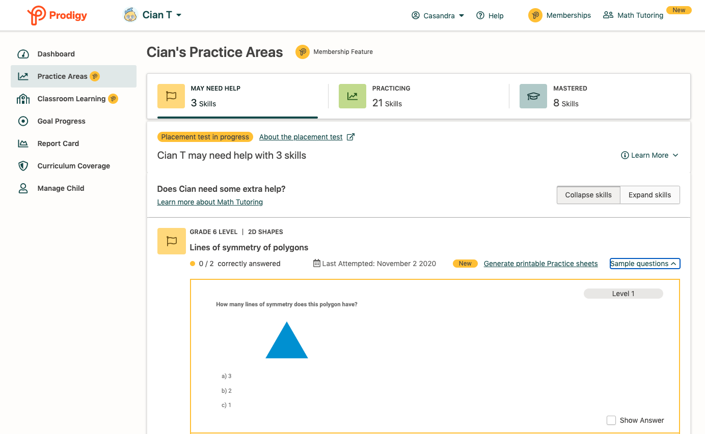 Screenshot of Prodigy's Practice Areas parent dashboard.