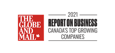 The Globe and Mail 2021 Report On Business Top Growing Companies badge.
