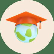 Planet earth in a graduation cap.
