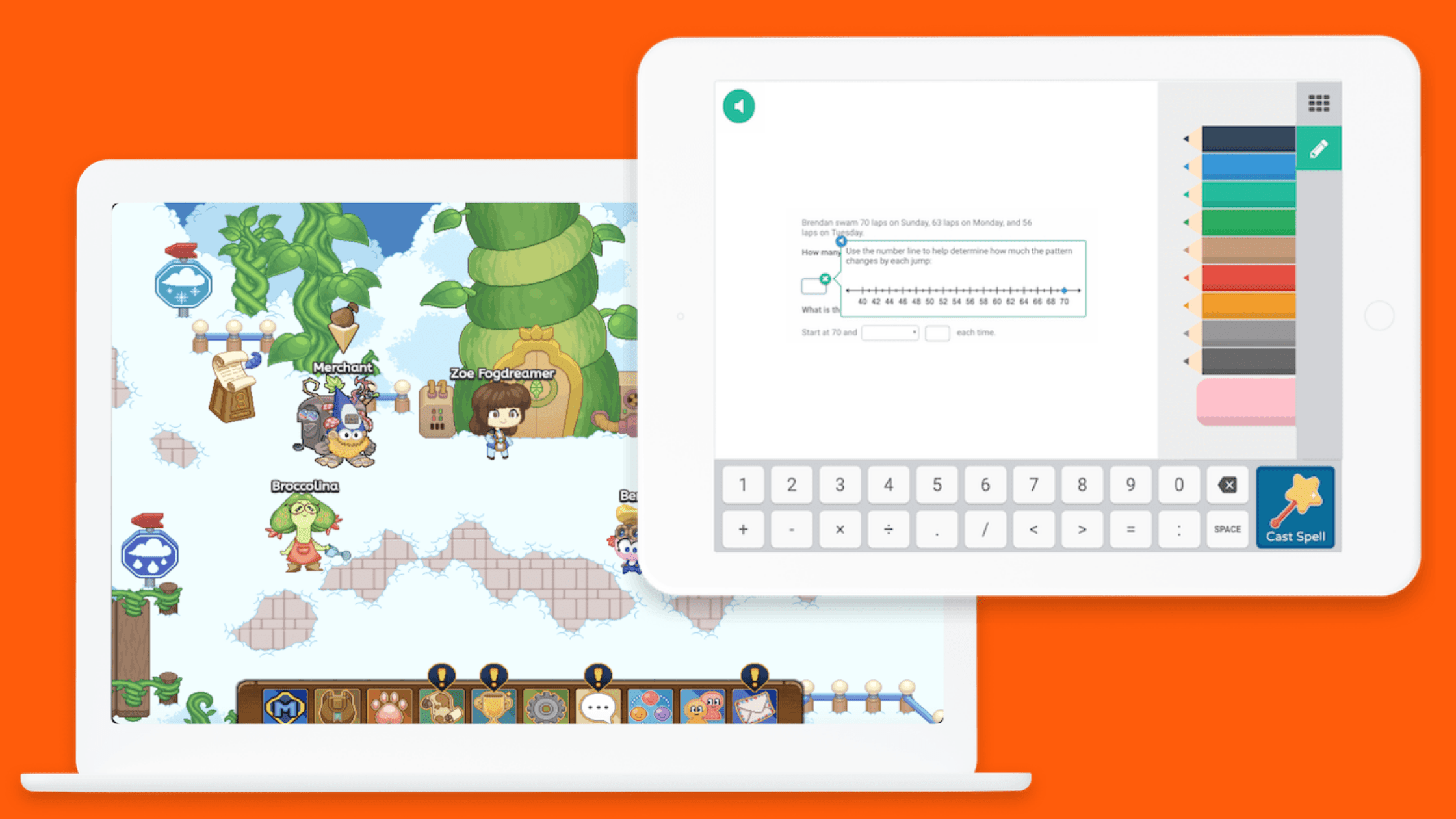 A glimpse of the Prodigy Math Game world and a sample math question a kid could receive while playing.