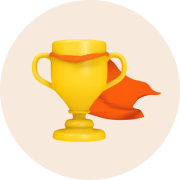 Trophy with an orange cape.