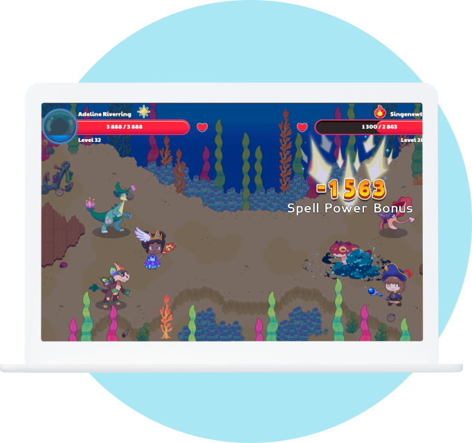 A tablet displaying the an in-game battle scene from Prodigy Math Game.