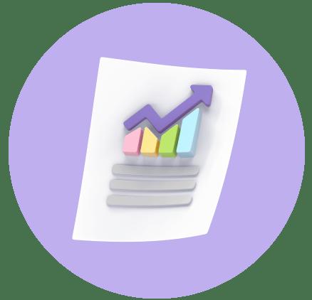 Animated chart with purple upward trend line