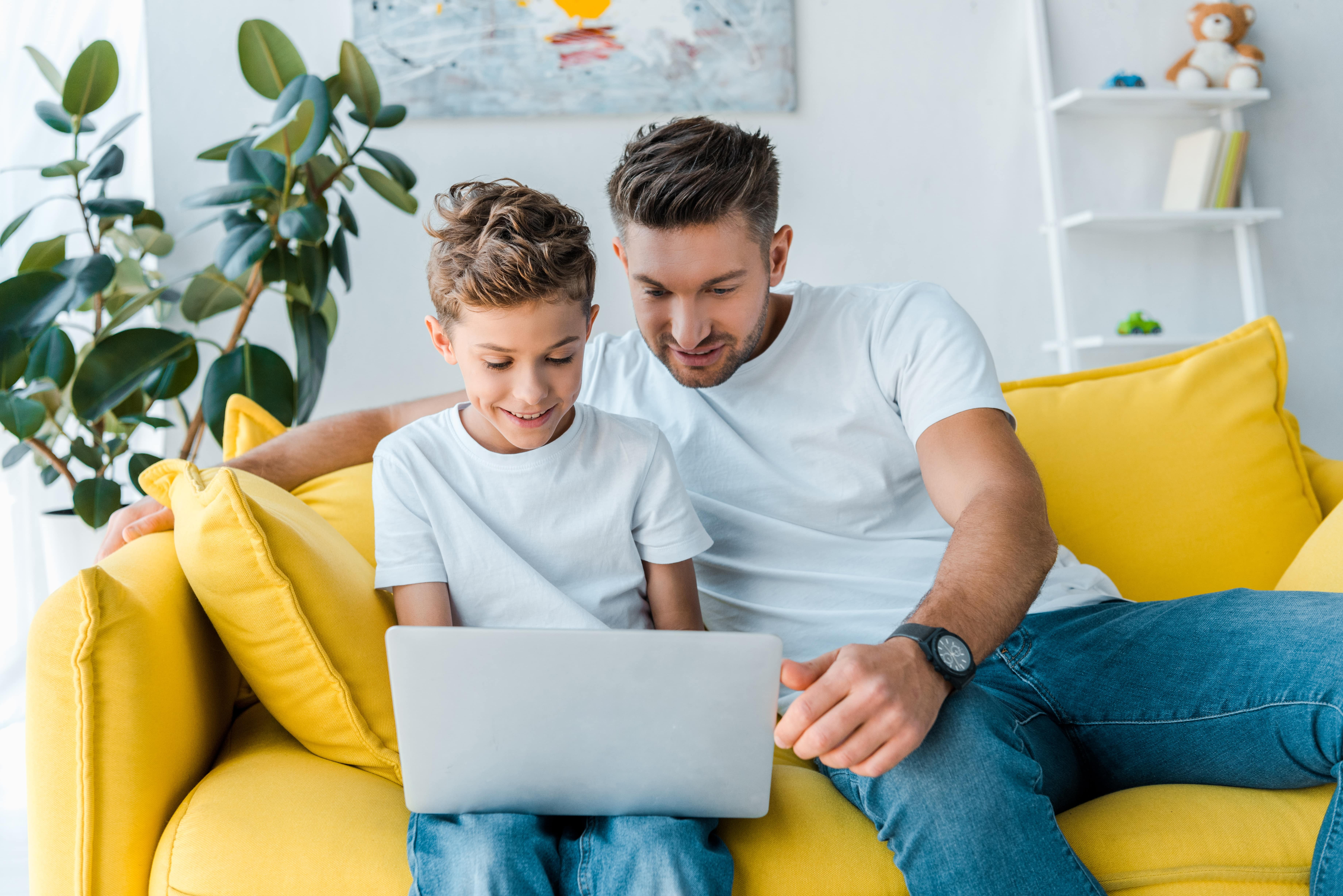dad and son learning math online