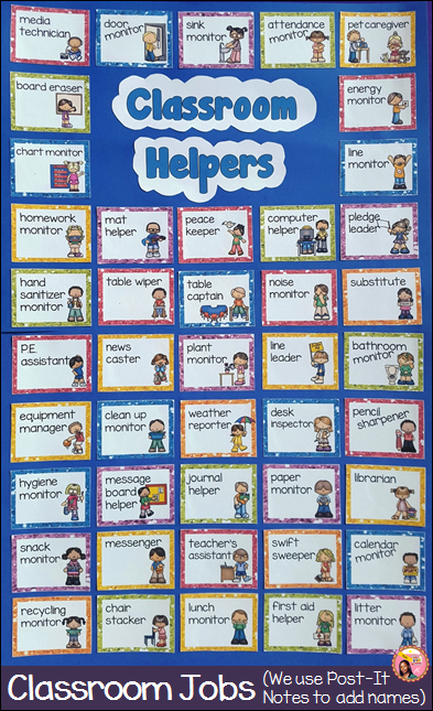 Classroom helpers chart from Ms Crafty Nyla