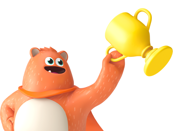 Prodigy mascot Ed holds a trophy for the Create a Challenge contest