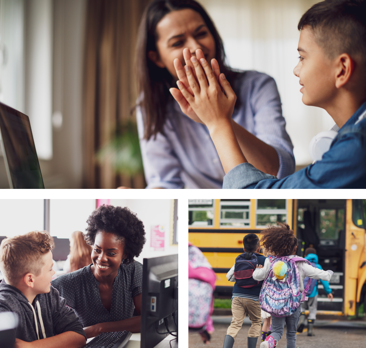 A group of three photographs: one shows a mother and her son high-fiving in front of a laptop, another shows a student and his teacher smiling at each other in front of a school computer, and the last one shows a group of children running excitedly toward a school bus.