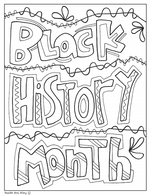 """A coloring page that says """"Black History Month"""" in block letters."""