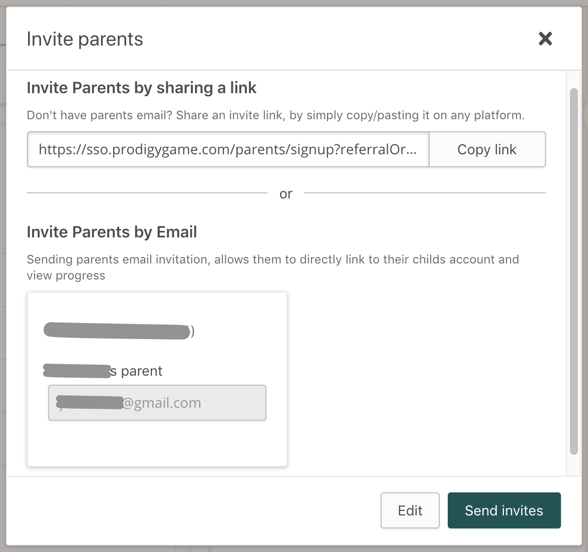 This is where you input the student's parent's email to send parent letter home digitally.