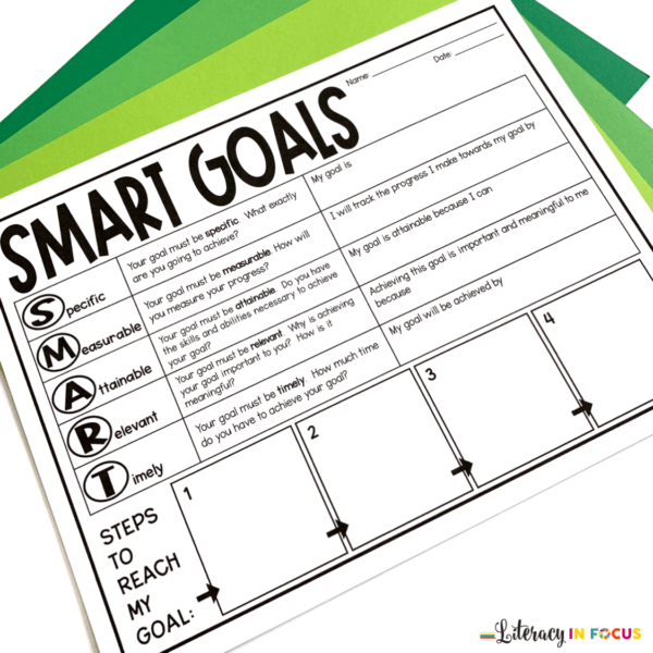 SMART goal worksheet from Literacy in Focus