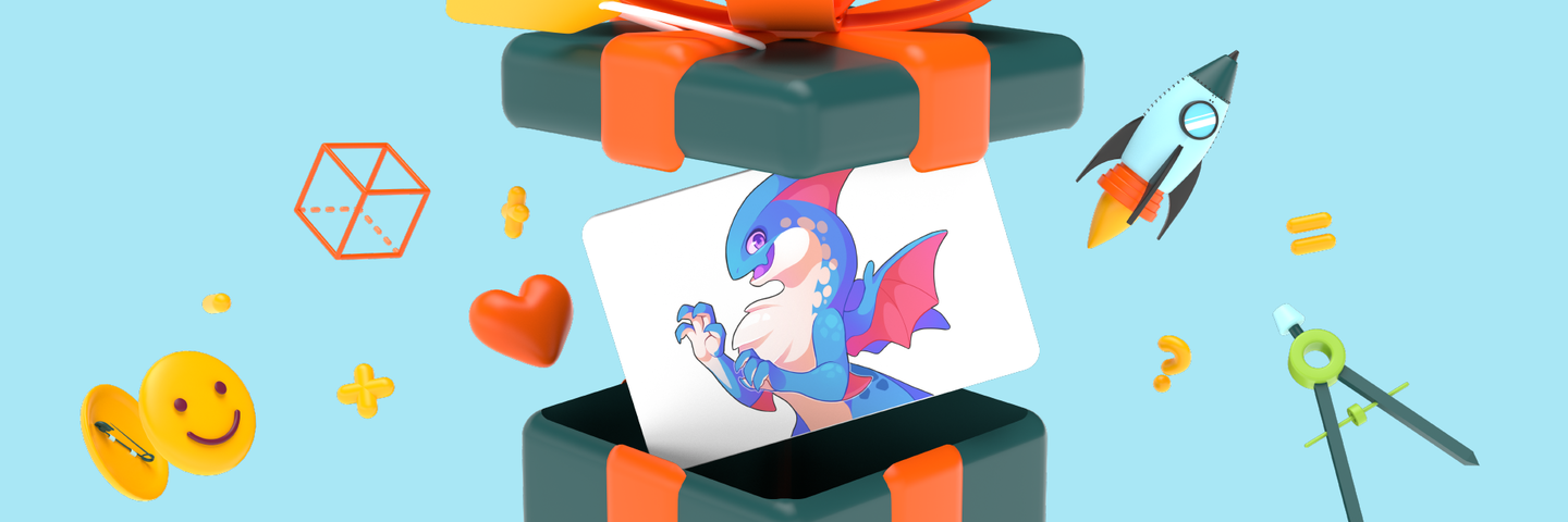 3D animated gift box with a gift card coming out of it. The gift card has a picture of Tidus, one of the Prodigy Epics, on it.