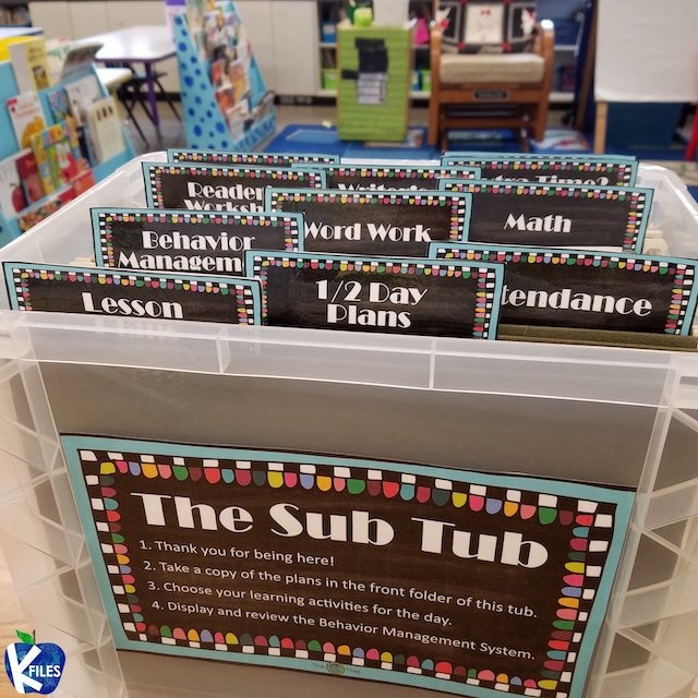 """""""Sub tub"""" with labeled sections for lesson plans and more."""