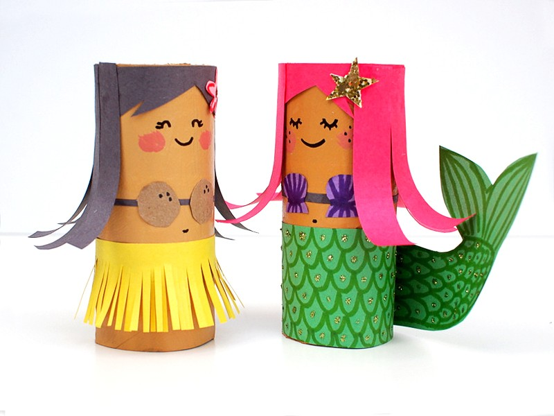 Toilet paper rolls decorated to look like a Hula dancer and a mermaid