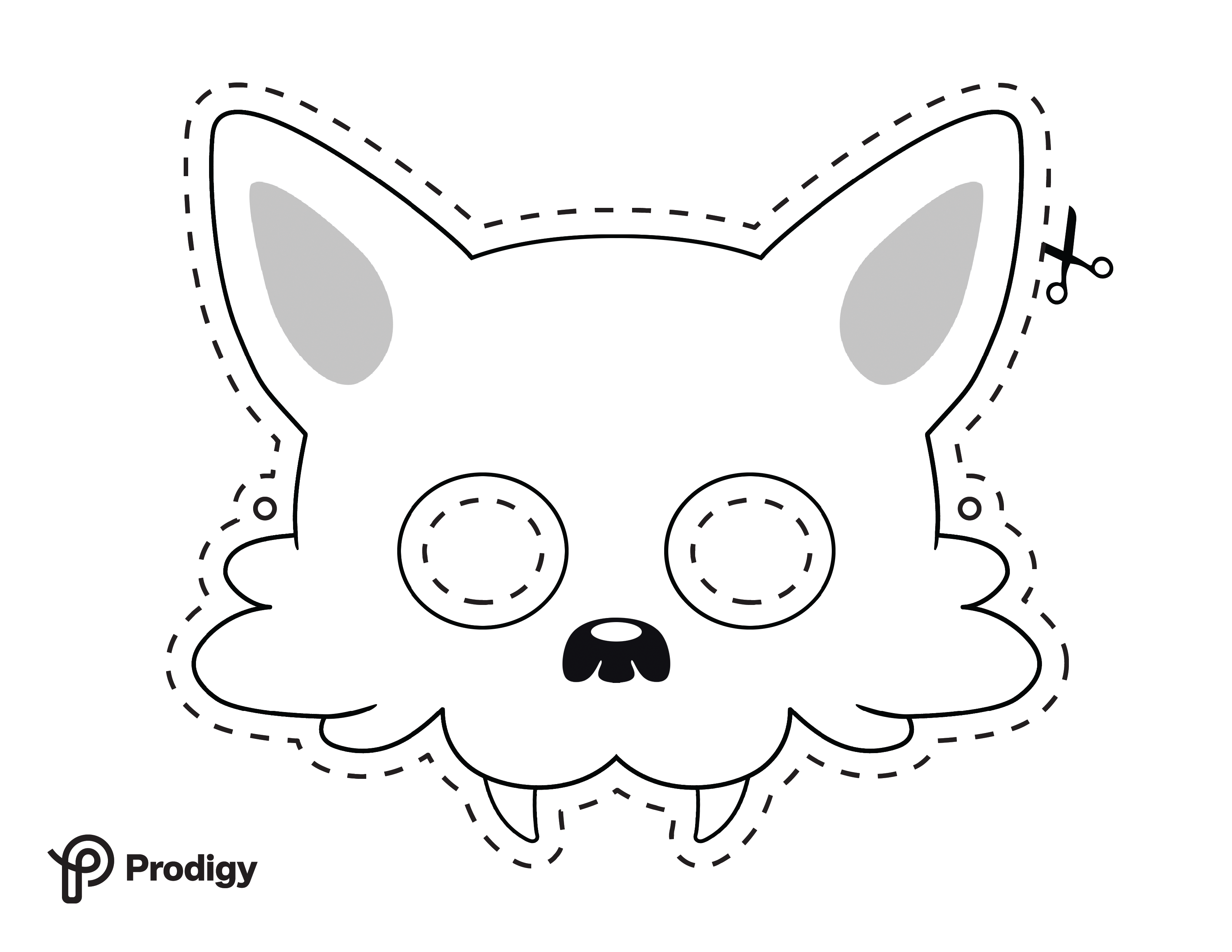 Printable wolf mask - black and white