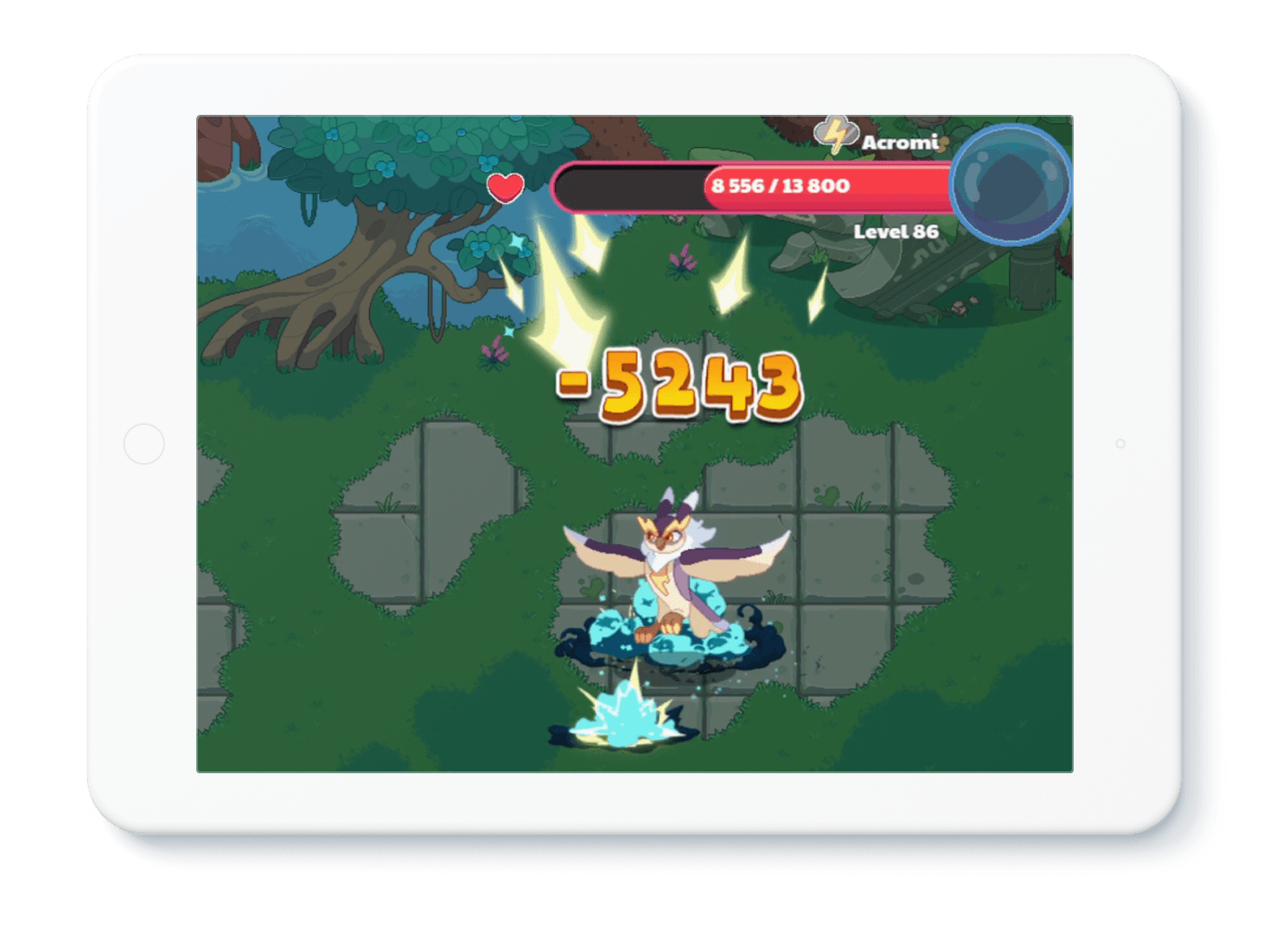 Illustration of tablet device with an in-game Prodigy wizard battle featured on the screen.