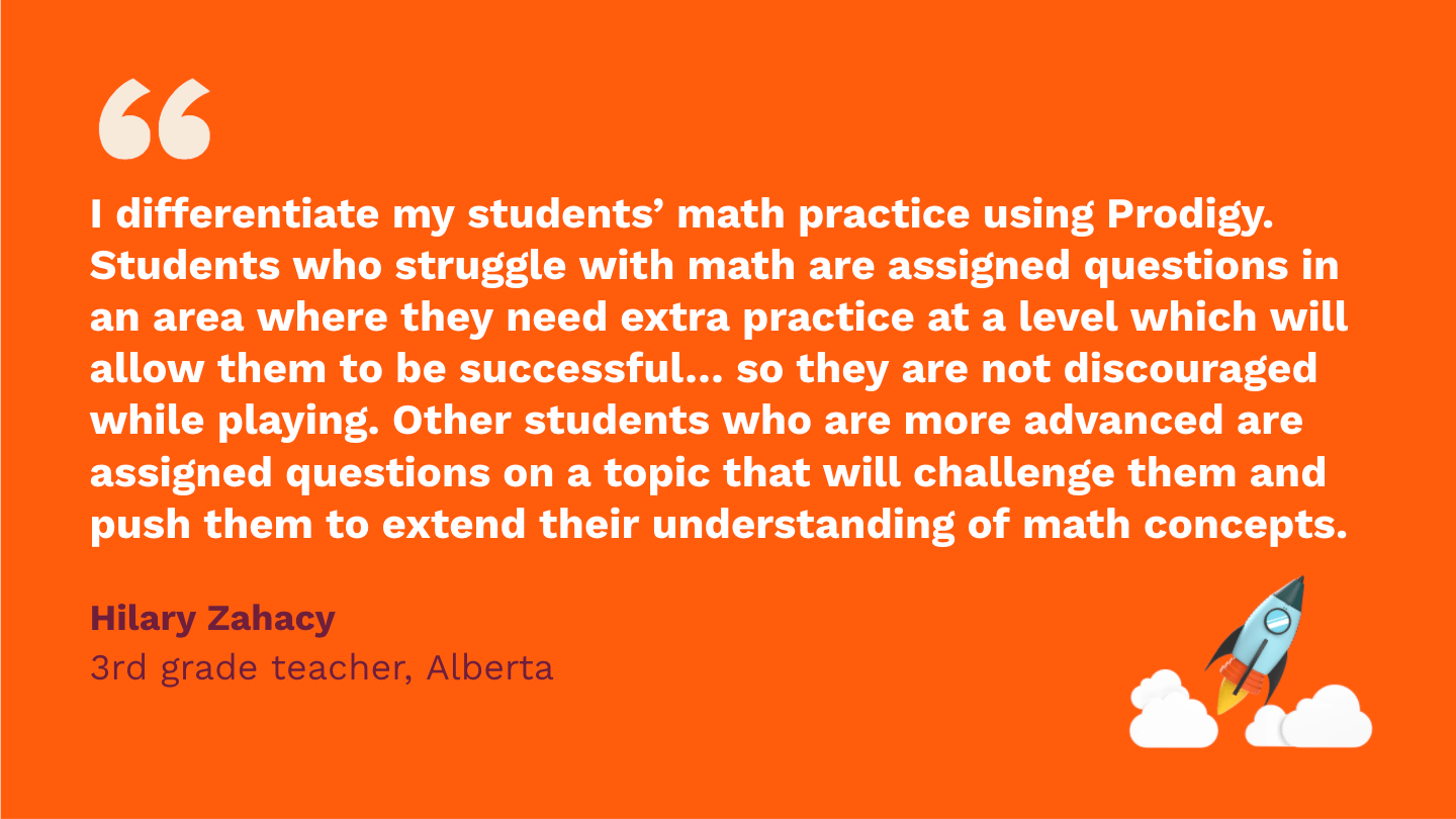 I differentiate my students' math practice using Prodigy. Students who struggle with math are assigned questions in an area where they need extra practice at a level which will allow them to be successful in answering questions, so they are not discouraged while playing. Other students who are more advanced are assigned questions on a topic that will challenge them and push them to extend their understanding of math concepts.Hilary Zahacy,third Grade Teacher, Alberta.