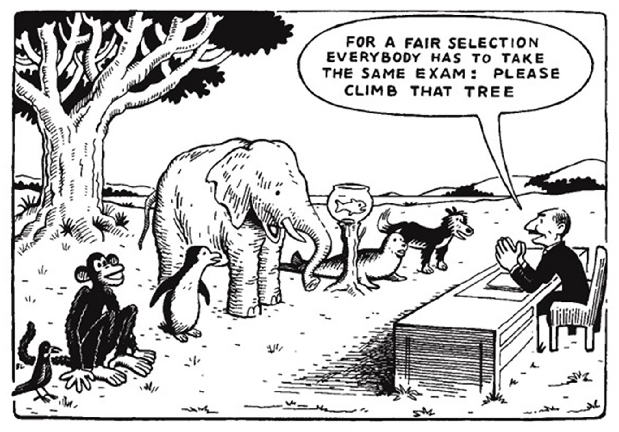 """Cartoon of a bird, monkey, penguin, elephant, fish, seal and dog standing in front of a tree. A man at a desk in front of them says, """"For a fair selection everybody has to take the same exam: Please climb that tree."""""""