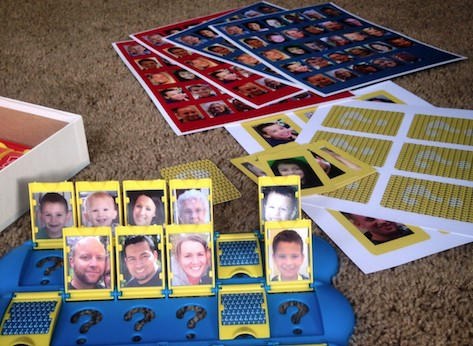 "Customized ""Guess Who?"" game board with photos of players' family and friends"