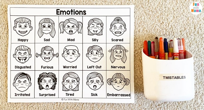 Printable emotions chart, including facial expressions with the name of each emotion written underneath