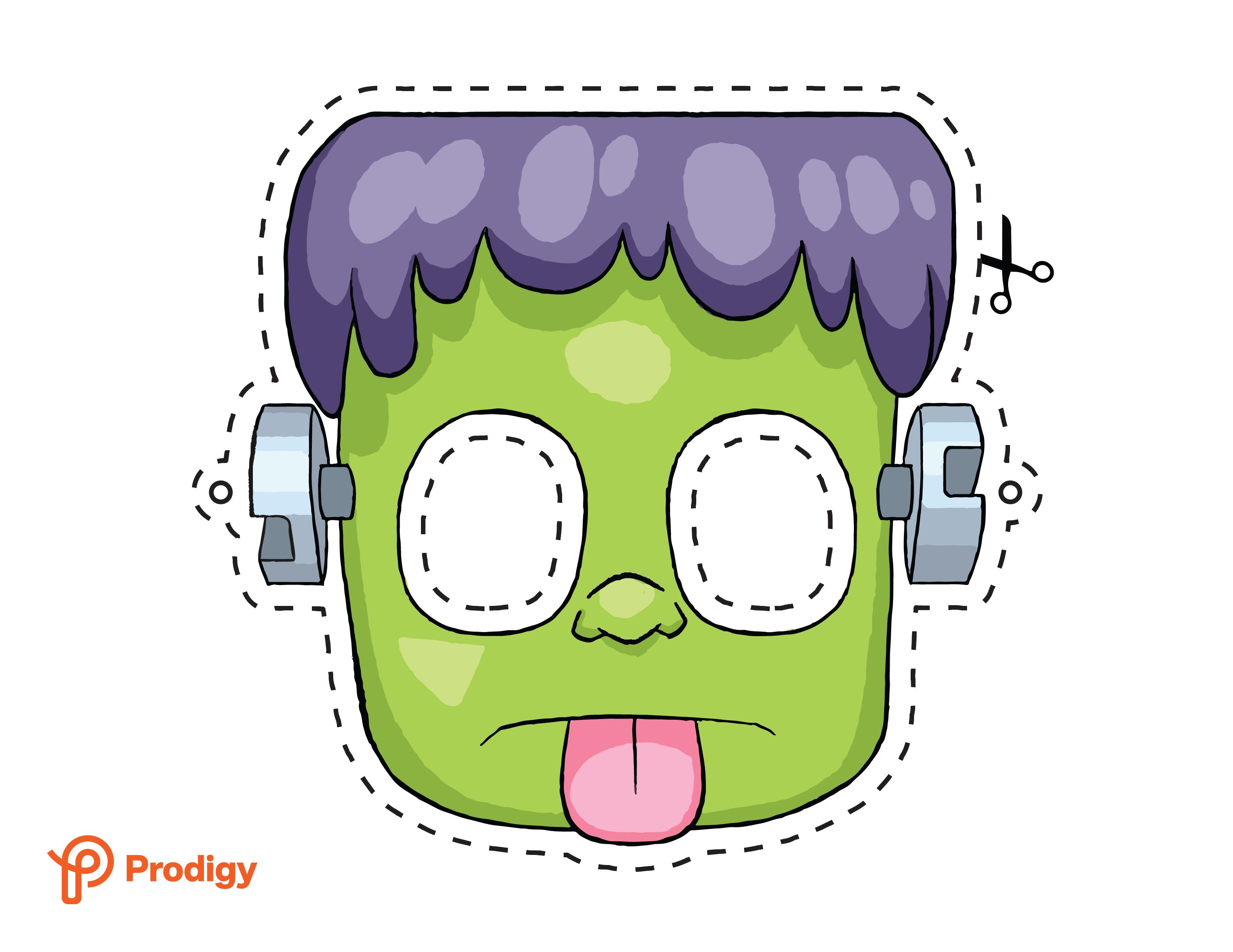 Printable Frankenstein mask - color