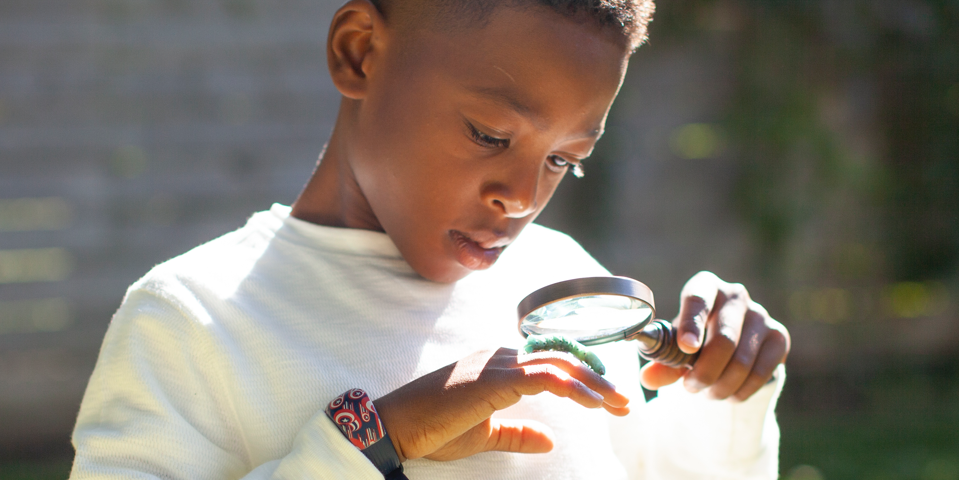 Child looking at a caterpillar through a magnifying glass