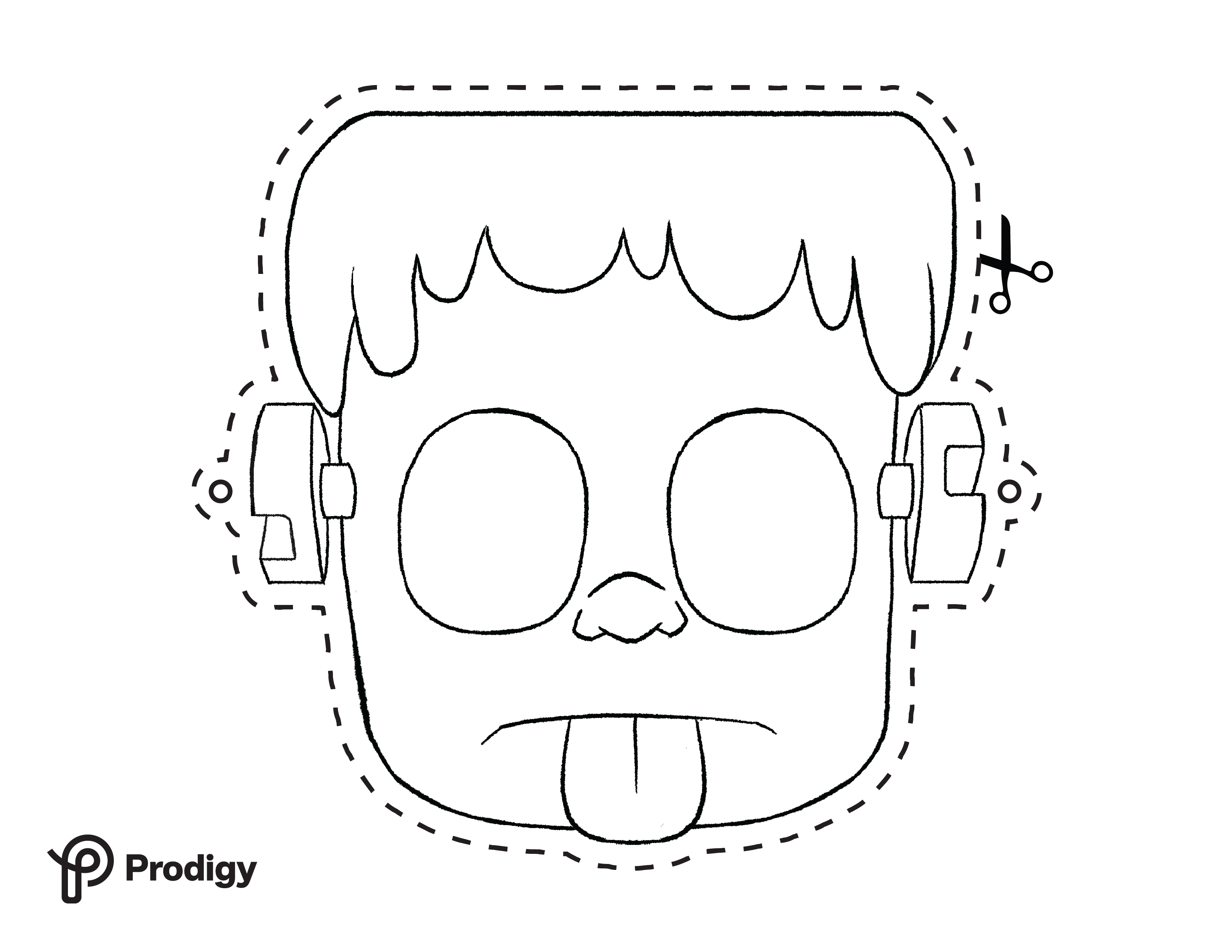 Printable Frankenstein mask - black and white