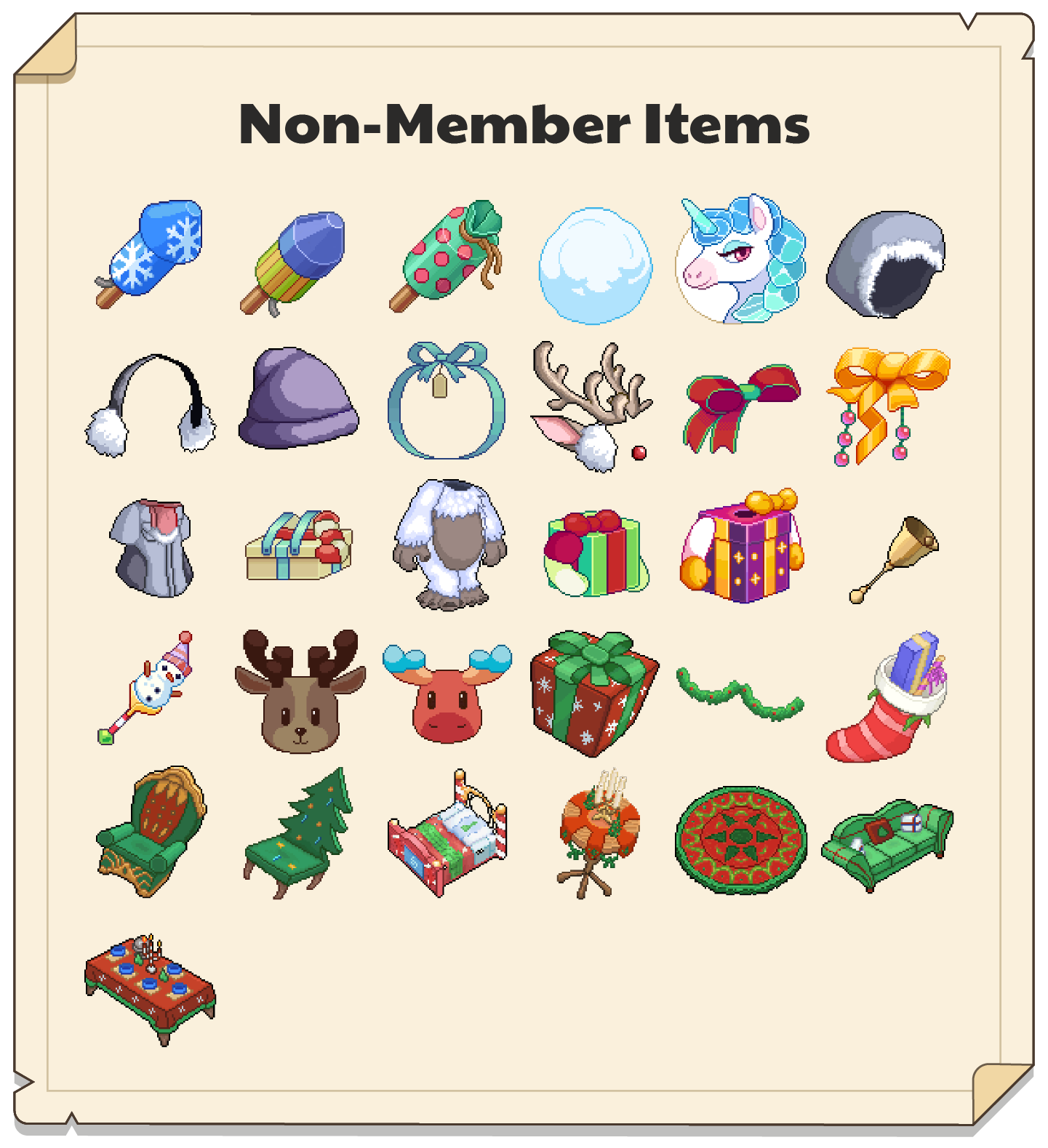 In-game Winterfest items for non-members.