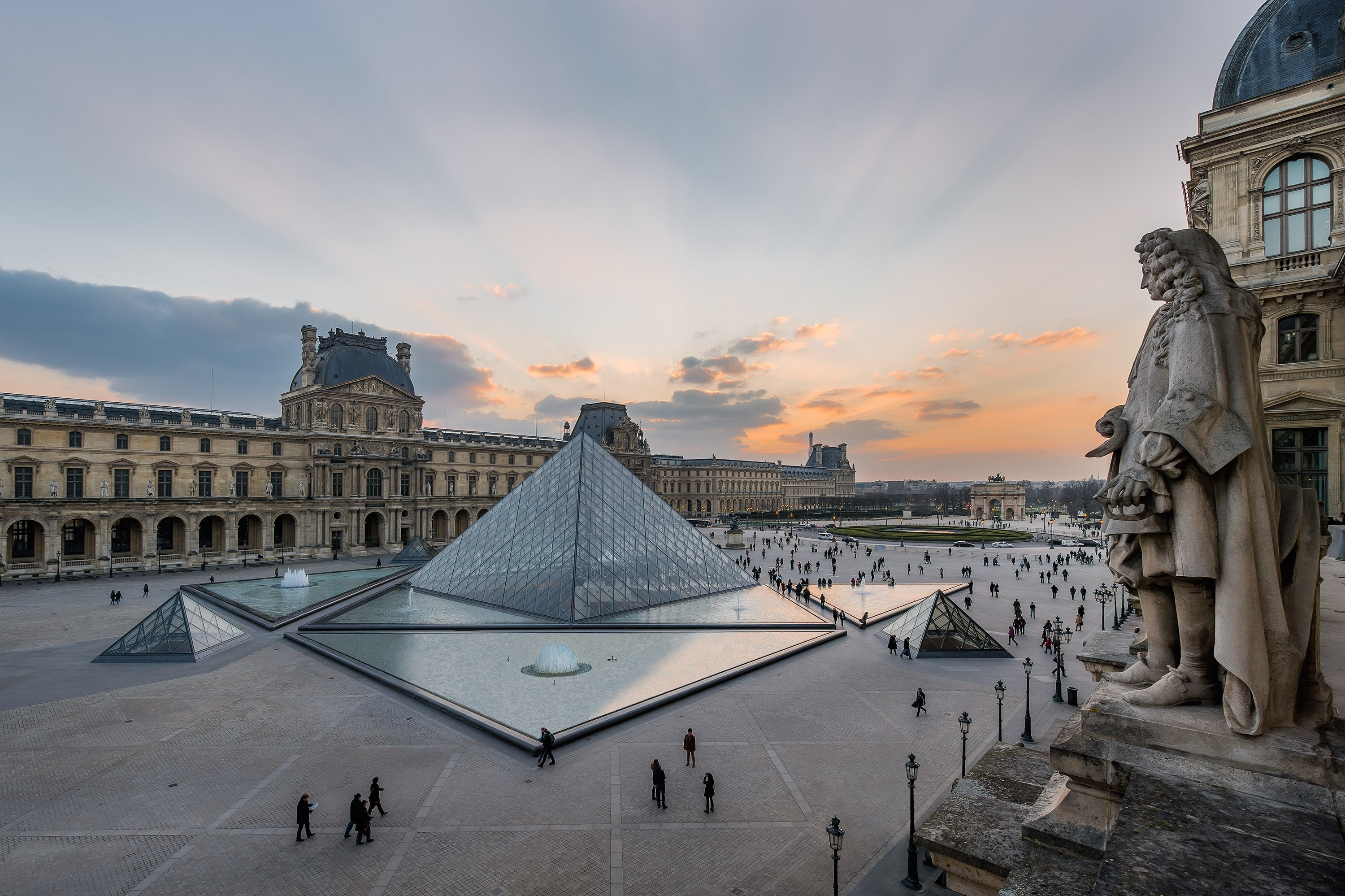 Outside view of The Louvre Museum in France