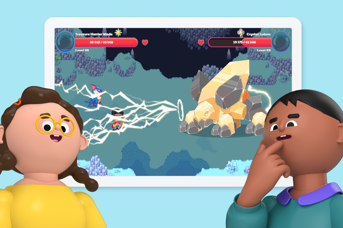 Two animated students excited to use Prodigy with Clever.