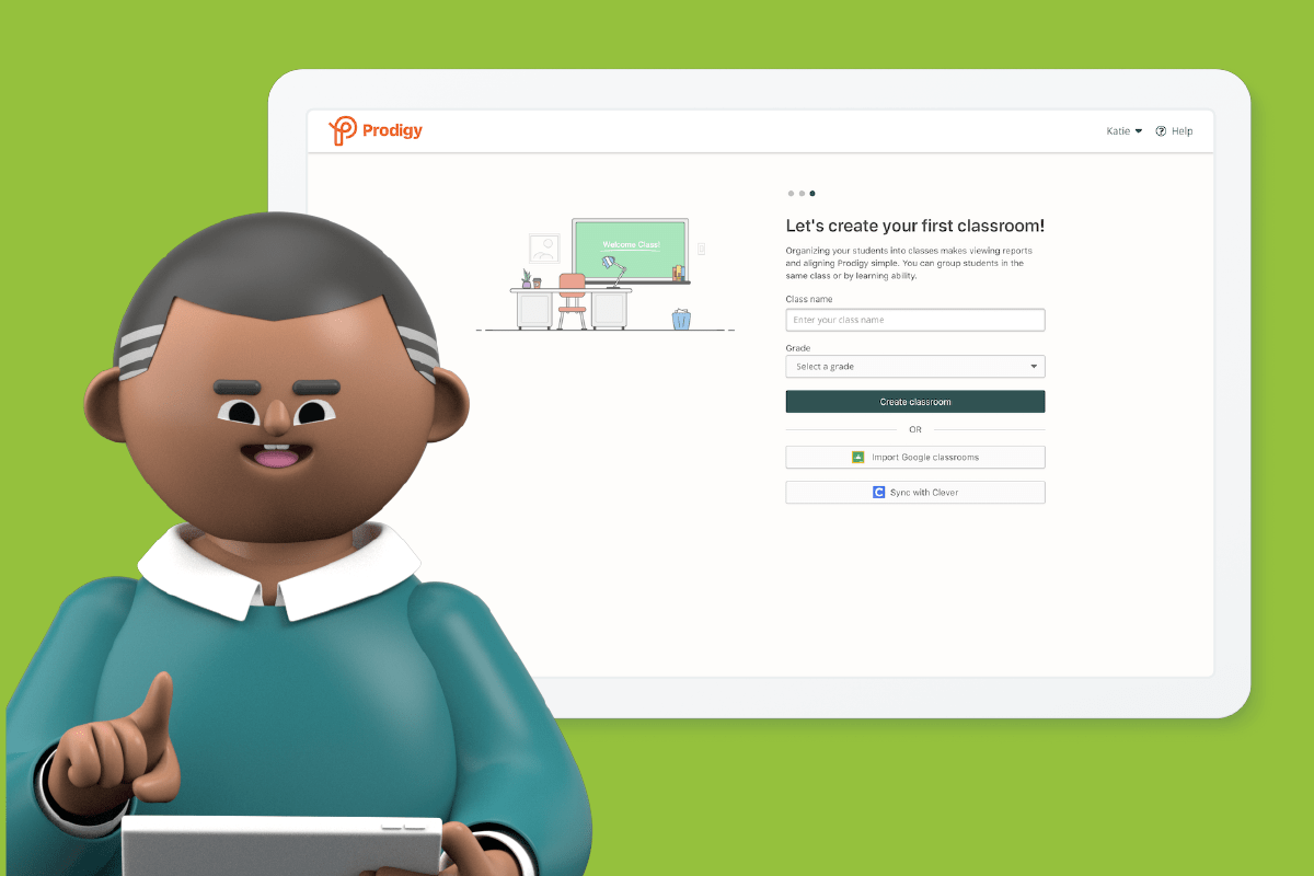 An animated male teacher creating his first Prodigy Classroom with Clever.