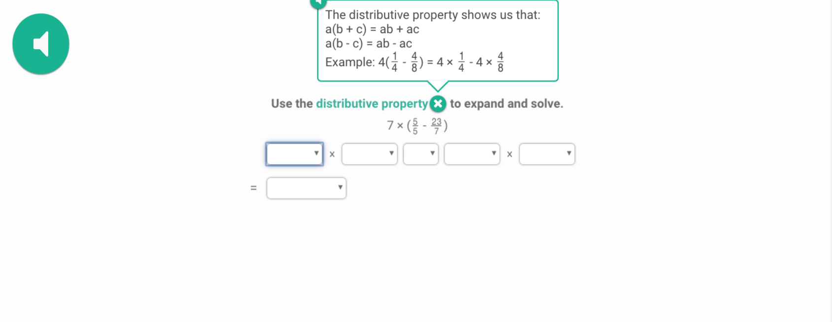 Exploring distributive property in Prodigy