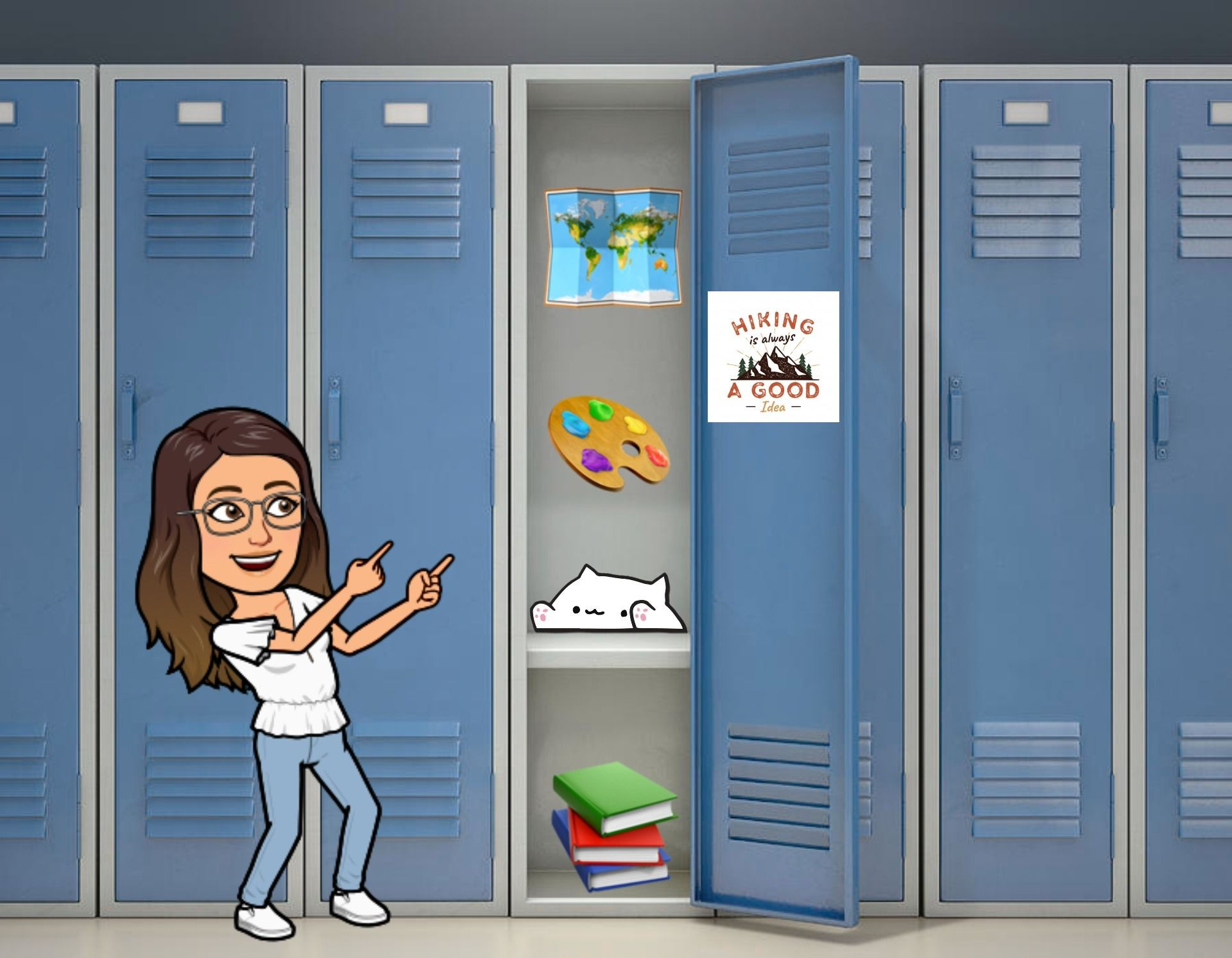 Bitmoji template for a virtual locker from Kapwing Resources