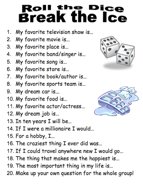 An example of an icebreaker for kids where you roll the dice to break the ice.