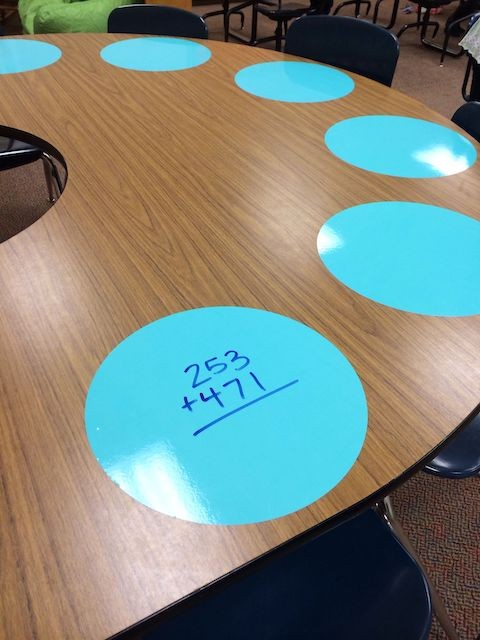 Desk with laminated placemats for math work