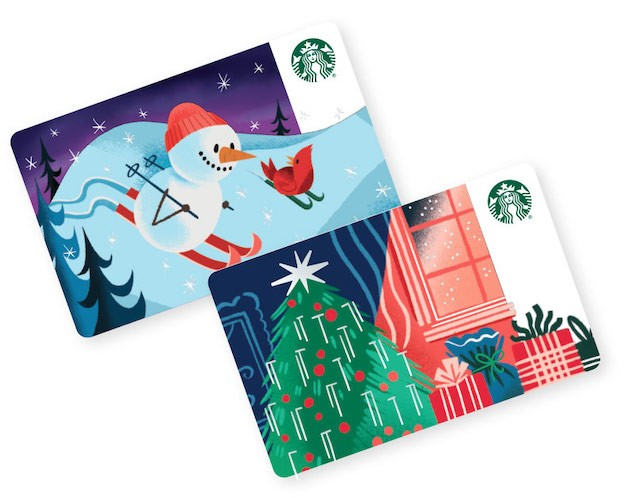 Two Starbucks holiday gift cards on white background.