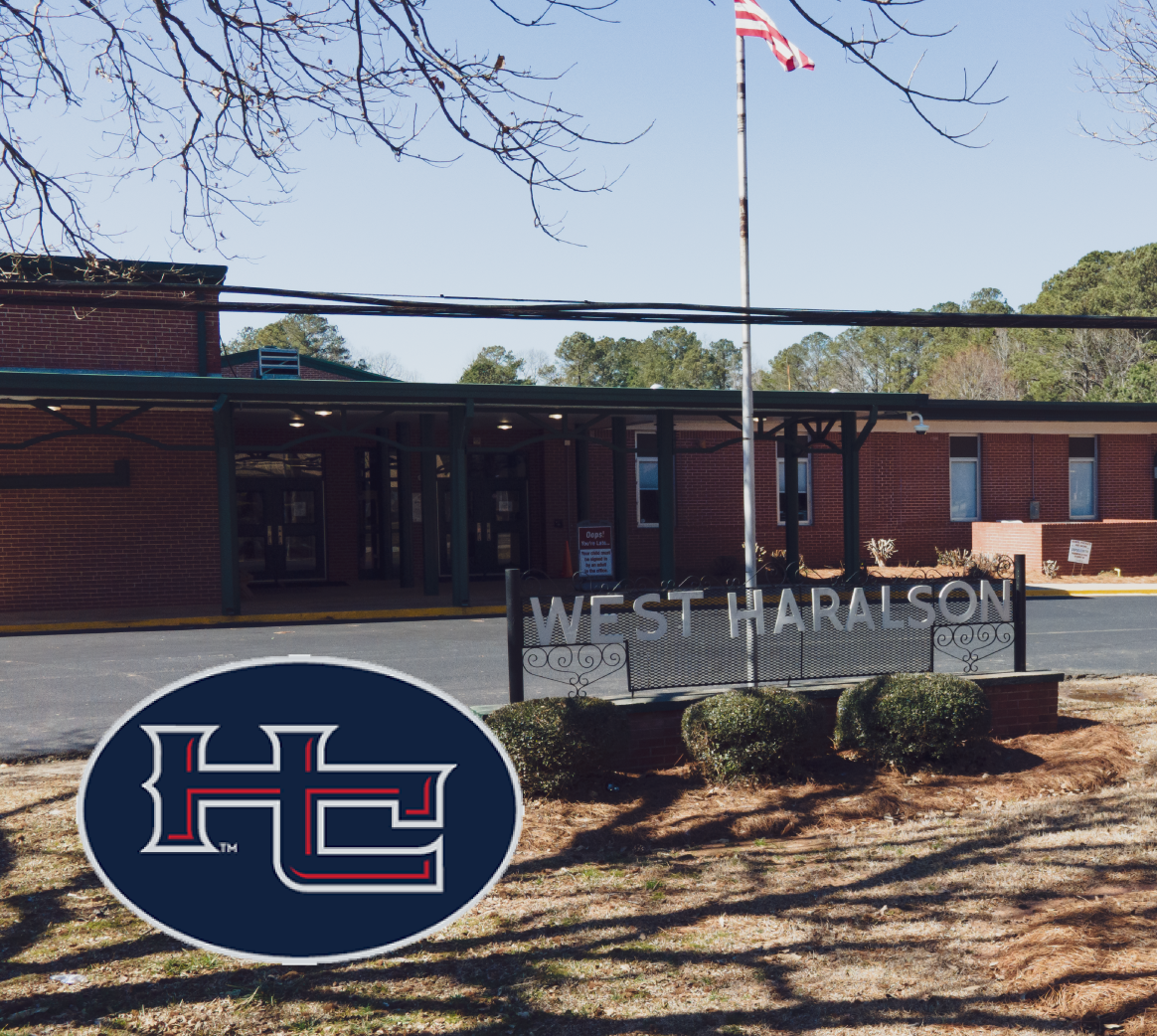 A picture of the outside of West Haralson Elementary School in Haralson County, Georgia with the school logo.