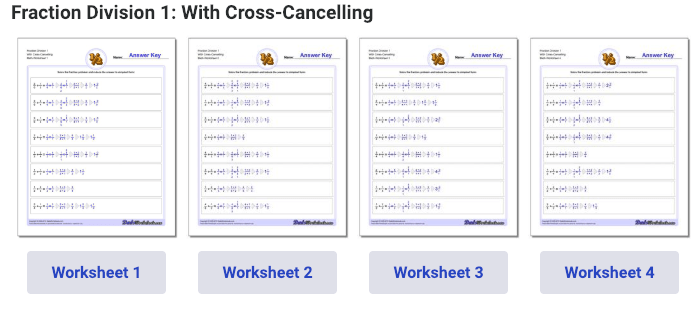 Fraction division with cross cancelling
