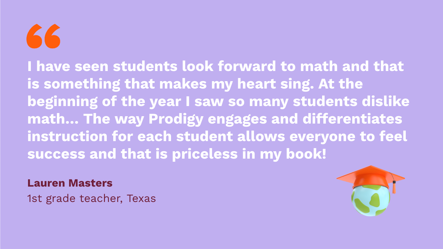 I have seen students look forward to math and that is something that makes my heart sing. At the beginning of the year I saw so many students dislike math and not look forward to it. The way Prodigy engages and differentiates instruction for each student allows everyone to feel success and that is priceless in my book!Lauren Masters,first Grade Teacher, Texas.