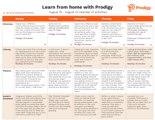 Example of Prodigy's printable calendar of activities